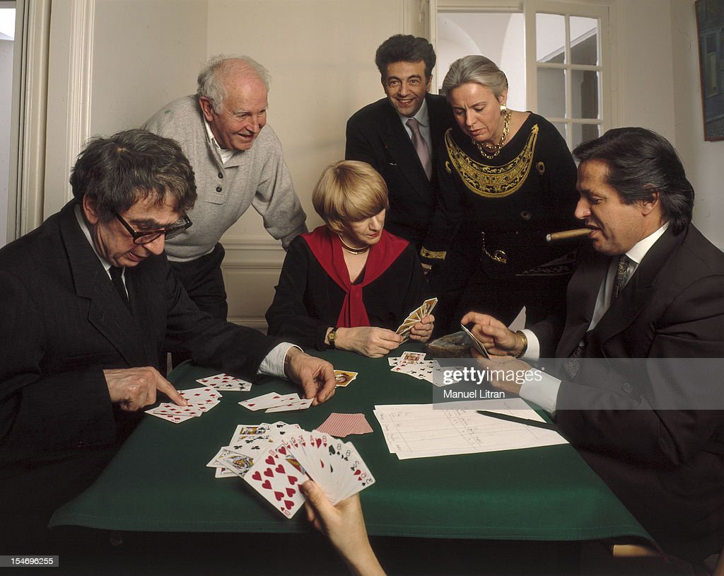 Paris - February 8, 1993 - Francoise Sagan her home in Paris, playing cards with his friends including Marc Francelet, Bernard Frank.