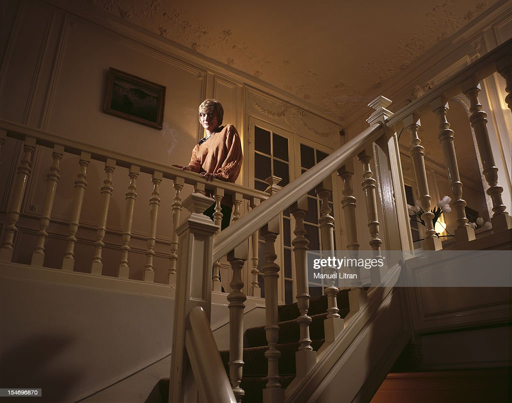Paris February 8 1993 Francoise Sagan her home in Paris up the stairs