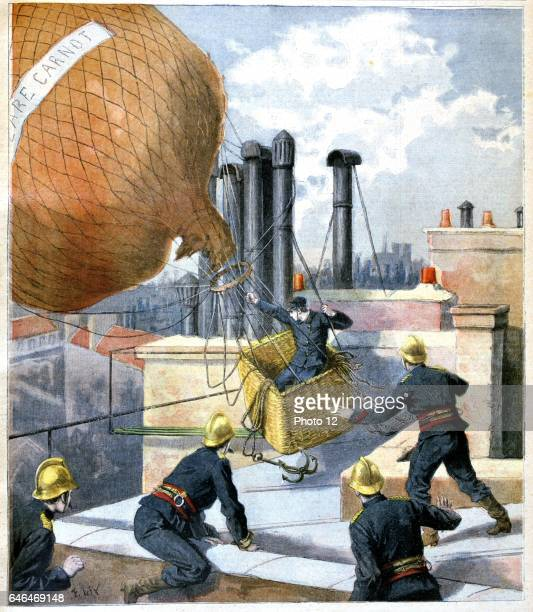 Paris firemen on the rooftops trying to capture a balloon with its ropes entangled round chimney pots and to rescue the aviator in the basket From...