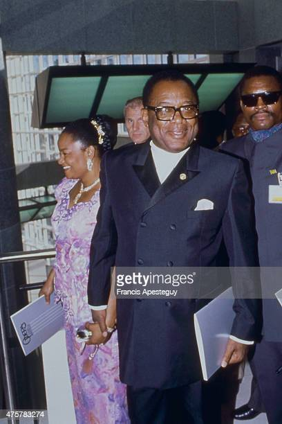 Paris France Mobutu Sese Seko President of Zaire with his wife