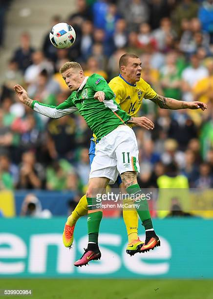Paris France 13 June 2016 James McClean of Republic of Ireland in action against Victor Lindelöf of Sweden during the UEFA Euro 2016 Group E match...