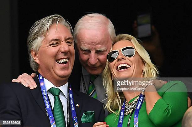 Paris France 13 June 2016 John Delaney Chief Executive of the FAI left Pat Hickey President of the Olympic Council of Ireland and Emma English ahead...