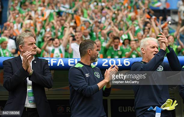 Paris France 13 June 2016 The Republic of Ireland bench from left coach Steve Walford assistant manager Roy Keane and goalkeeping coach Seamus...