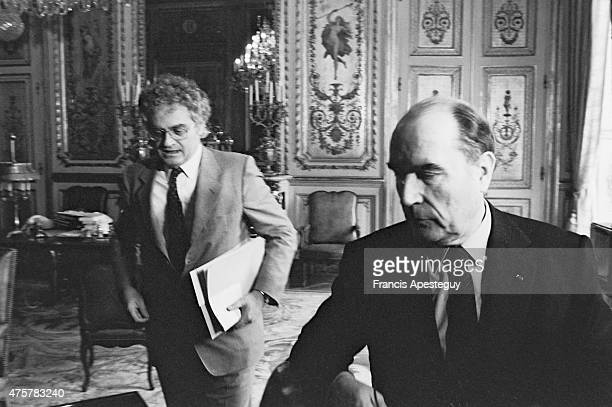 Paris France French president Francois Mitterrand with Lionel Jospin at the Elysee Palace