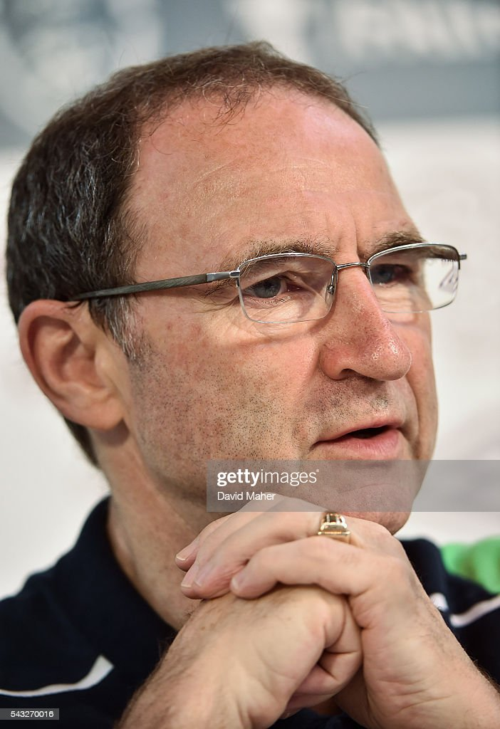 Paris , France - 27 June 2016; Republic of Ireland manager <a gi-track='captionPersonalityLinkClicked' href=/galleries/search?phrase=Martin+O%27Neill&family=editorial&specificpeople=201190 ng-click='$event.stopPropagation()'>Martin O'Neill</a> during a press conference in Versailles, Paris, France.
