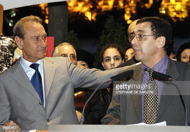 Ben Barka's son Bachir speaks 31 October 2005 in Paris next to Bertrand Delanoe mayor of Paris after the inauguration of a place in honour of missing...