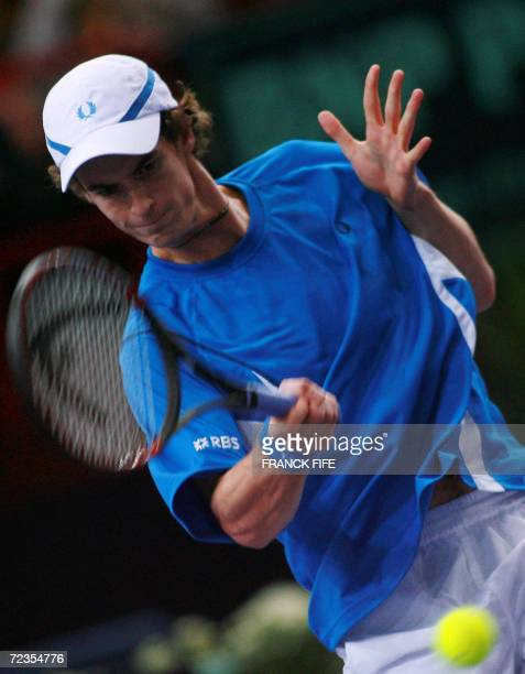 Briton Andy Murray returns to Slovakia's Dominik Hrbaty during their Paris Tennis Masters Series third round match at Bercy indoor tournament 02...