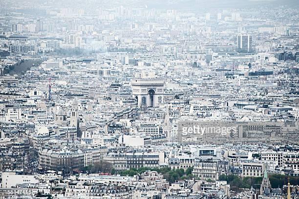 Paris, France cityscape looking towards Arc de Triomphe