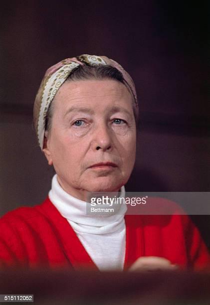 Close up of French writer Simone de Beauvoir author of The Second Sex