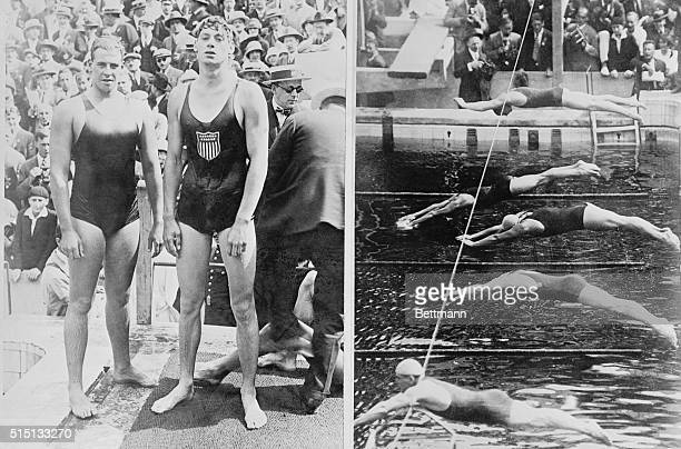 Composite Olympic photo of the 400 meter swimming event On left are swimmers Johnny Weissmuller U S A and Andrew Charlton Australia The action shot...