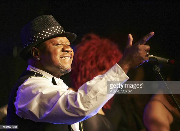 Congolese singer Papa Wemba performs during a concert at the New Morning 15 February 2006 in Paris AFP PHOTO PIERRE VERDY