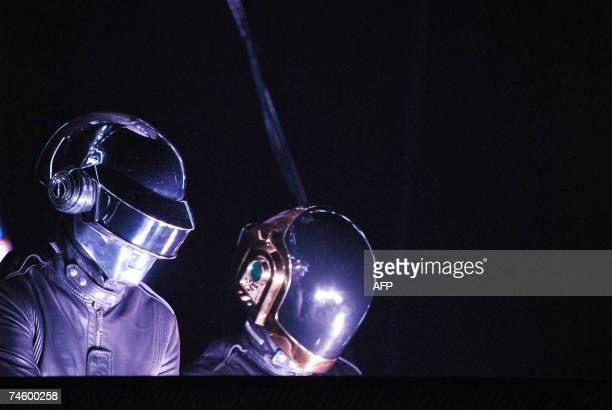 French band Daft Punk wearing a helmet performs on stage at the Palais omnisport of Bercy in Paris 14 June 2007 The pair Thomas Bangalter and...