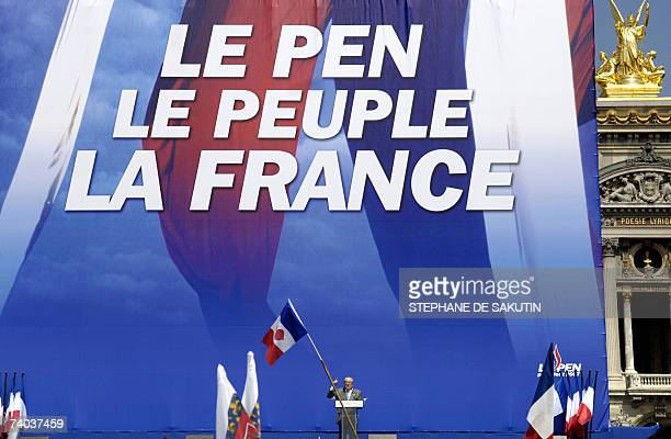 French farright National Front leader and former presidential candidate JeanMarie Le Pen addresses his supporters at the Opera place in Paris 01 May...