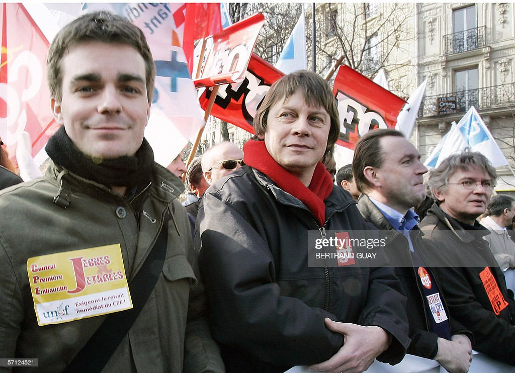 French student union Unef leader Bruno Julliard French trade unions left wing CGT leader Bernard Thibault and FO leader JeanClaude Mailly demonstrate...