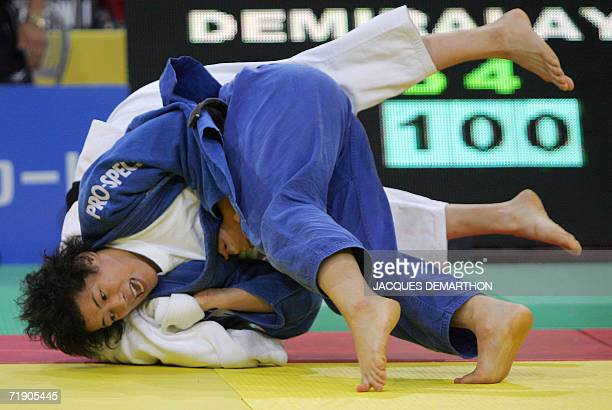 Korean Park Ka Yeon fights with Turkish Subiliye Demiralay 16 September 2006 at the ParisBercy hall in Paris in repechage during the Women's World...