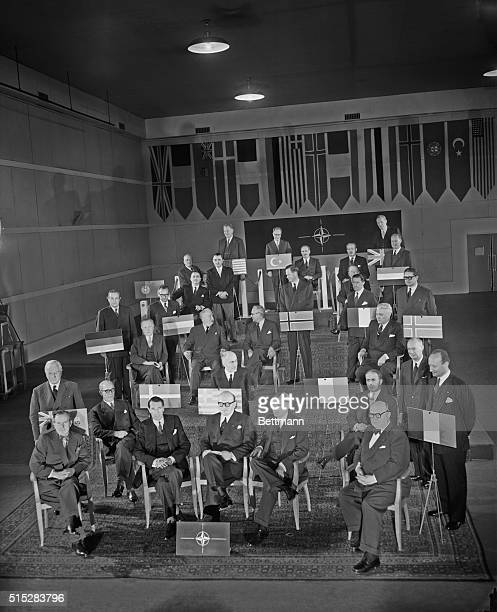 Members of the ministerial council of the North Atlantic Treaty Organization including the newest member West German chancellor Konrad Adenauer pose...