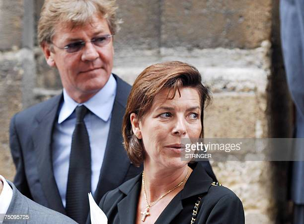 Monaco's Princess Caroline and her husband Prince Ernst August of Hanover leave 06 July 2007 the church of SaintLouisenl'Ile in Paris after attending...
