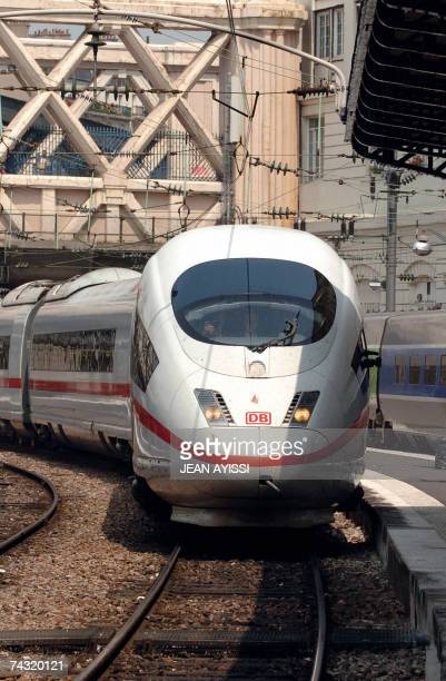 New German high speed train ICE 3 arrives at Gare de l'Est railways station in Paris 25 May 2007 The train improved a route with a reduced time...