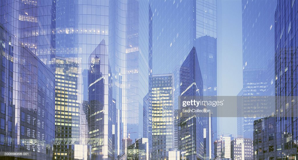 Paris, France, panorama of multiple exposure of business district : Stock Photo