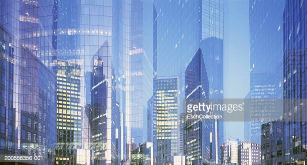 Paris, France, panorama of multiple exposure of business district
