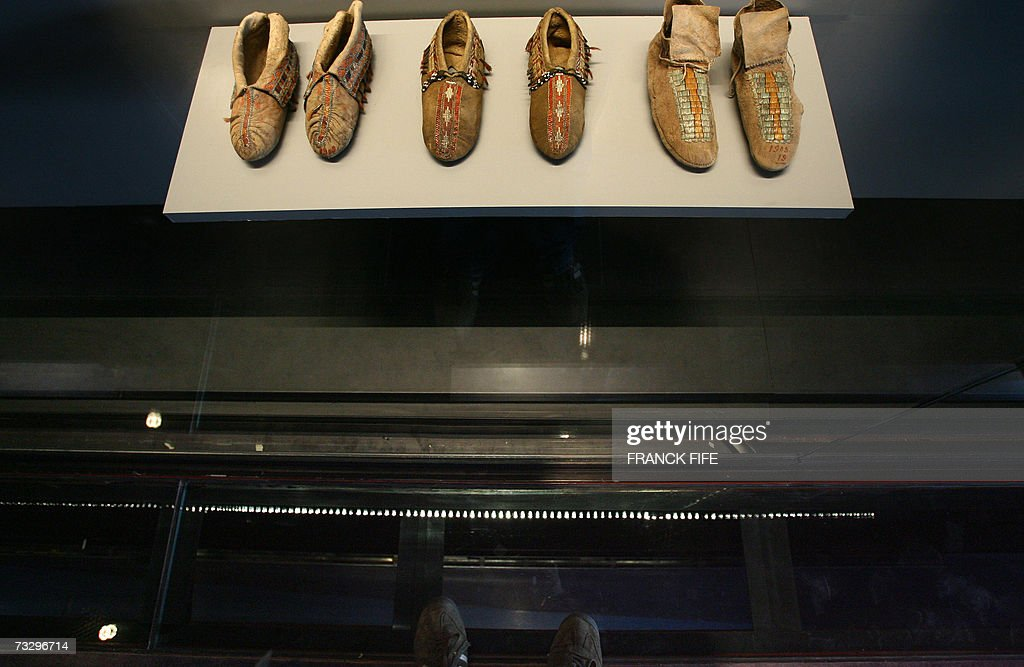 Picture of moccasins exposed as part of the exhibition 'First nations royal collections' 11 February 2007 at the Musee du quai Branly in Paris The...