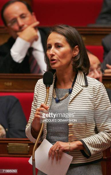 Potential Socialist Party presidential candidate Segolene Royal speaks in front of PS' first secretary Francois Hollande 25 September 2006 at the...