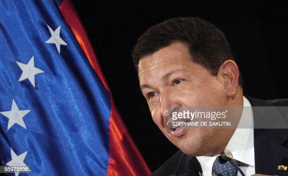 President of Venezuela Hugo Chavez gives a press conference after a meeting with French politicians 20 October 2005 in Paris Chavez stays in France...