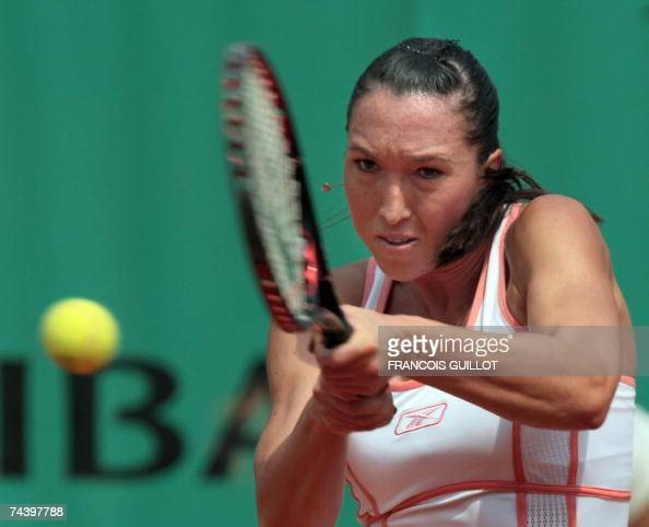 Serbian player Jelena Jankovic hits a backhand shot to Czech player Nicole Vaidisova during their French Tennis Open quarter final match at Roland...