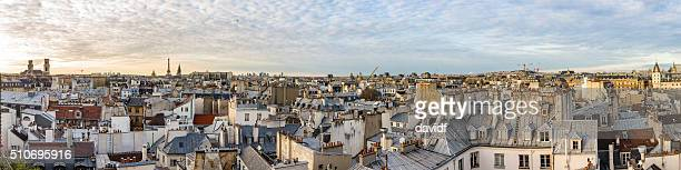 Panorama de horizonte Paris França ao pôr do sol