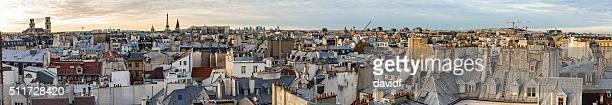 Paris France ville Panorama au coucher de soleil