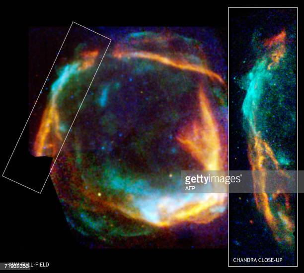 This combined image from the Chandra and XMMNewton Xray observatories of RCW 86 released 18 September 2006 by the European Space Agency shows the...