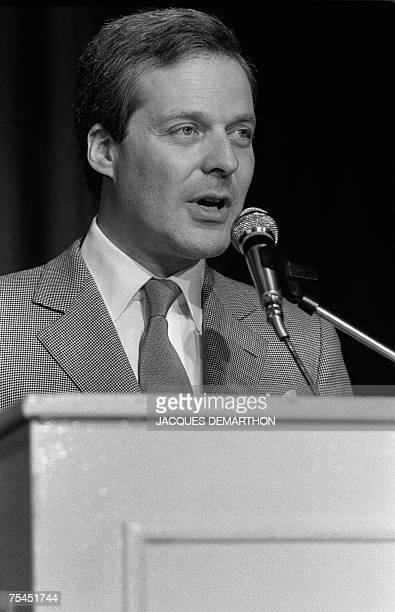 This file picture taken 20 April 1983 during a ceremony at the French Jewish Center shows banker David De Rothschild The French group ParisOrleans...