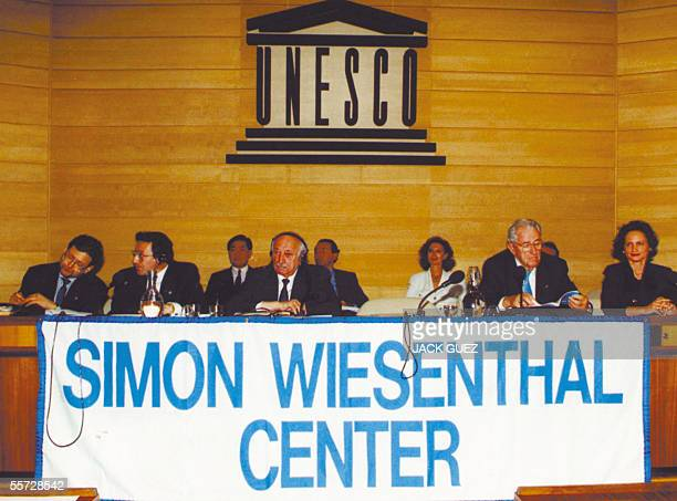 This picture taken circa ten years ago made available 20 September 2005 shows Nazi hunter Simon Wiesenthal during a conference at the UNESCO in Paris...