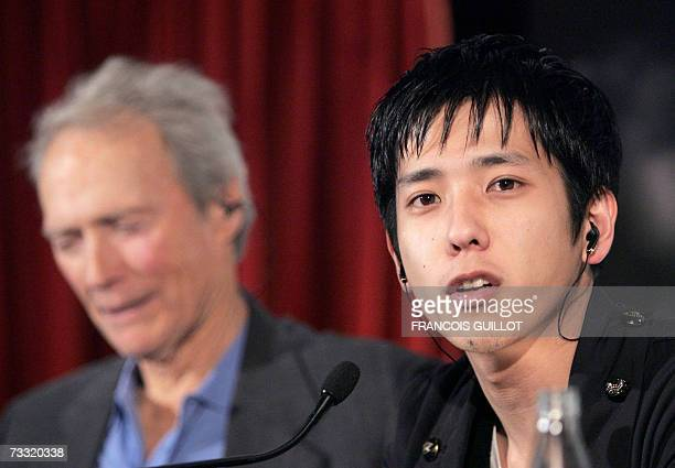 US actor and director Clint Eastwood and Japanese actor Kazunari Ninomiya give a press conference in Paris 14 February 2007 prior to the release of...
