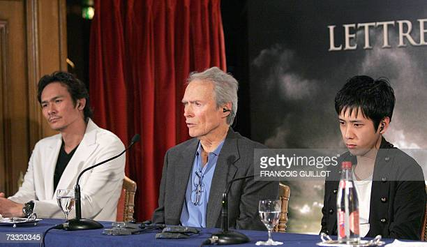 US actor and director Clint Eastwood and Japanese actors Kazunari Ninomiya and Tsuyoshi Ihara give a press conference in Paris 14 February 2007 prior...
