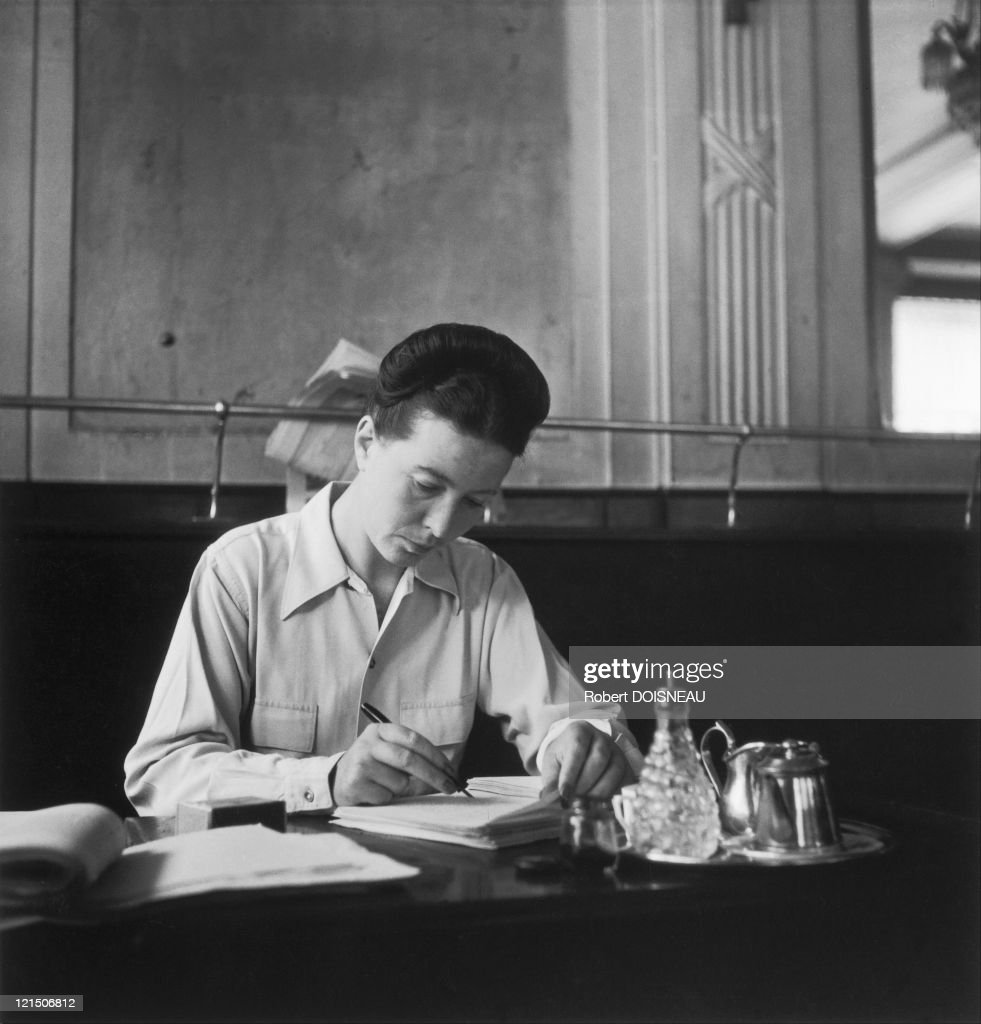 Paris, Simone De Beauvoir At The Deux Magots, Saint-Germain-Des-Pres