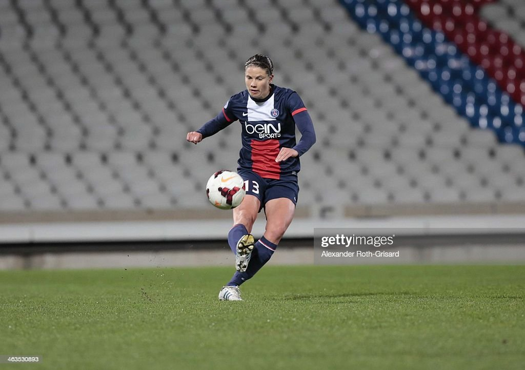 Paris' German centre back Annike Krahn controls the ball during a match between Lyon and Paris SaintGermain on January 18 2014 in Lyon France