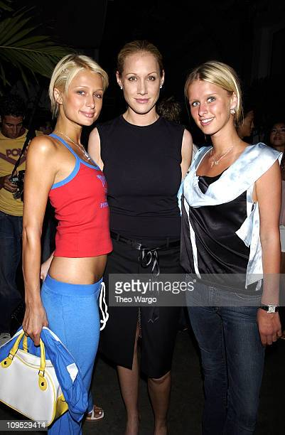 Paris Hilton Amy Sacco and Nicky Hilton during Jordan Two3 Fashion Show in Manhattan at Chelsea Piers in New York City New York United States