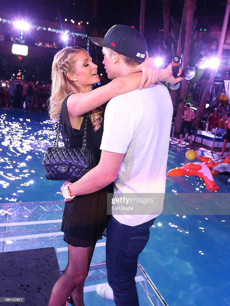 Paris Hilton and boyfriend River Viiperi attend The Pool After Dark's Six year anniversary party at Harrah's Resort on Saturday May 4, 2013 in Atlantic City, New Jersey.