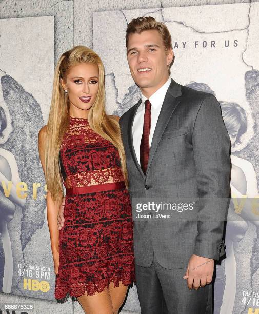 Paris Hilton and Chris Zylka attend the season 3 premiere of 'The Leftovers' at Avalon Hollywood on April 4 2017 in Los Angeles California
