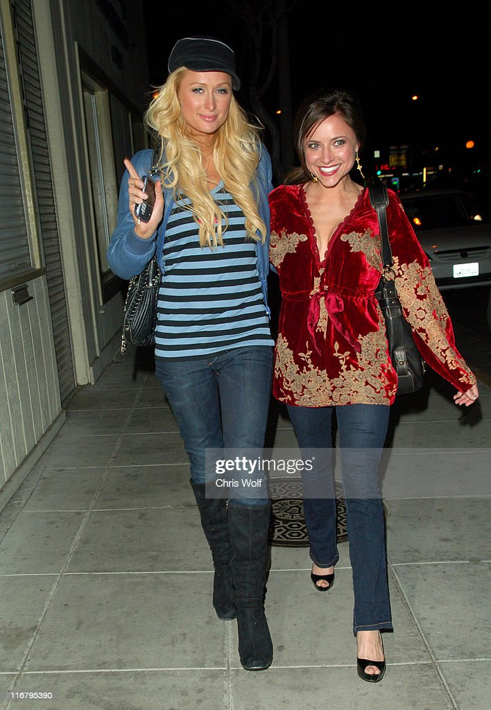Paris Hilton and Christine Lakin during Paris Hilton Sighting at Bar Lubitsch January 20 2007 at Bar Lubitsch in West Hollywood California United...
