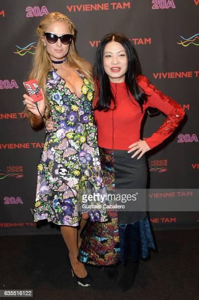 Paris Hilton and designer Vivienne Tam attend Vivienne Tam FW2017 Runway Show show at Gallery 1 Skylight Clarkson Sq during New York Fashion Week The...