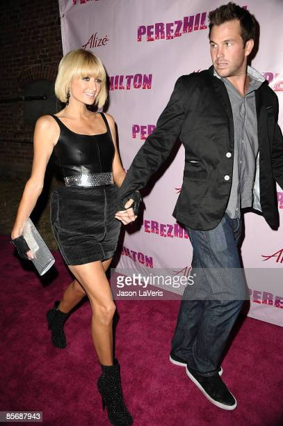 Paris Hilton and Doug Reinhardt attend Perez Hilton's 31st birthday bash at the Viper Room on March 28 2009 in West Hollywood California