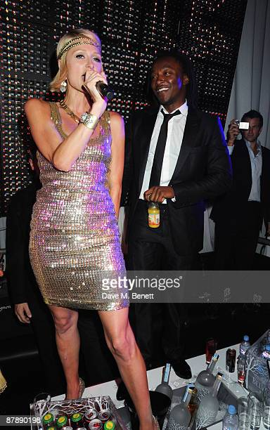 Paris Hilton and Freddie Achom attend the party hosted by Paris Hilton to celebrate her week during the 62nd International Cannes Film Festival at...
