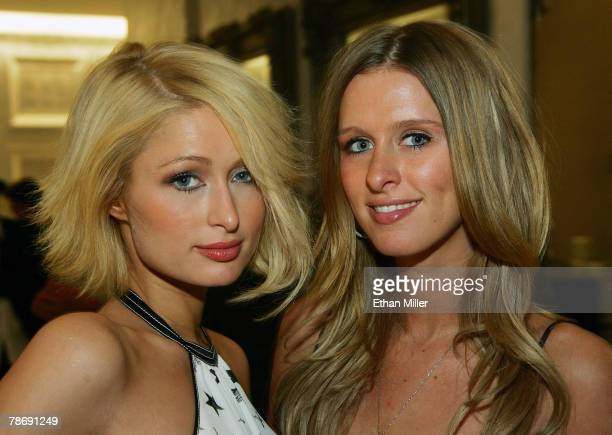 Paris Hilton and her sister Nicky Hilton appear at the grand opening of Color A Salon by Michael Boychuck at Caesars Palace January 1 2008 in Las...