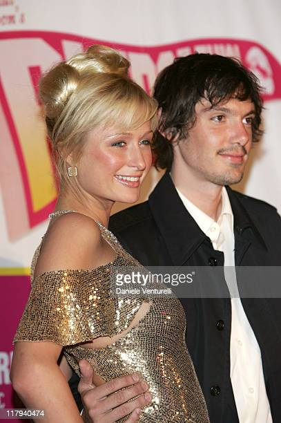 Paris Hilton and Lukas Haas during 2005 Cannes Film Festival 'National Lampoon's Pledge This' Party at Baoli in Cannes France