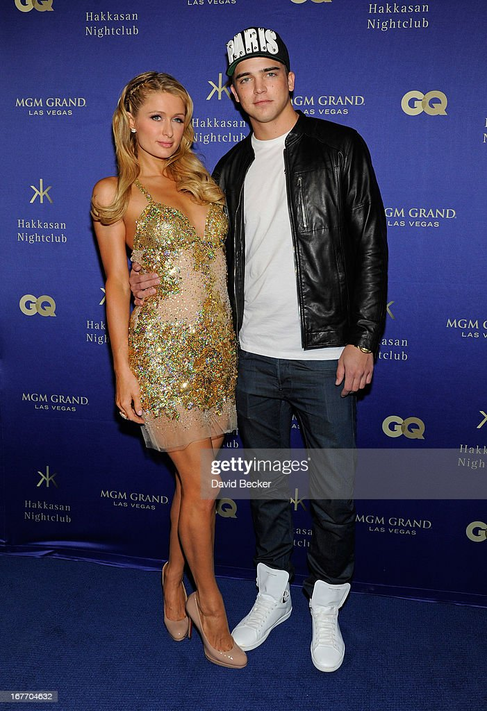 Paris Hilton (L) and model River Viiperi arrive at the grand opening of Hakkasan Las Vegas Restaurant and Nightclub at the MGM Grand Hotel/Casino on April 27, 2013 in Las Vegas, Nevada.