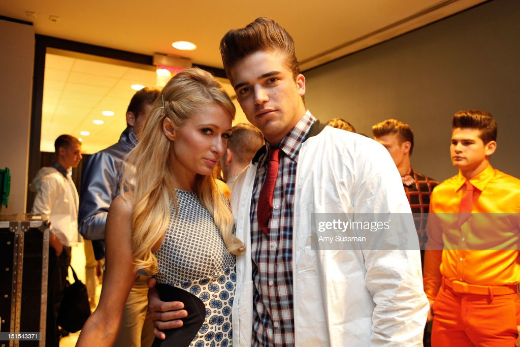 Paris Hilton and model River Viiperi attend the Marlon Gobel Spring 2013 fashion show during MercedesBenz Fashion Week at the New York Public Library...