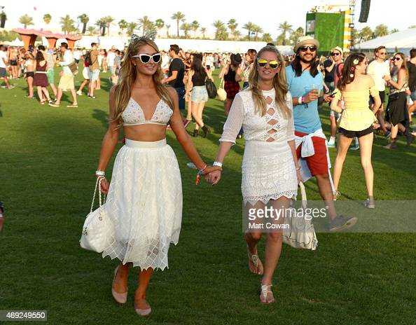 Paris Hilton and Nicky Hilton attend day 1 of the 2015 Coachella Valley Music Arts Festival at the Empire Polo Club on April 10 2015 in Indio...