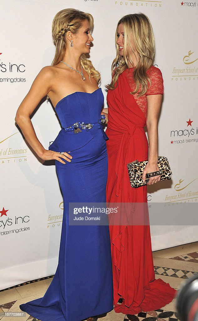 Paris Hilton and Nicky Hilton attend the 2012 European School Of Economics Foundation Vision And Reality Awards at Cipriani 42nd Street on December 5, 2012 in New York City.